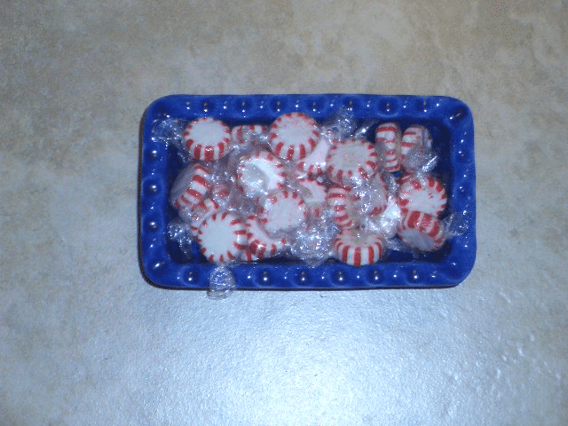 small loaf pan with candy