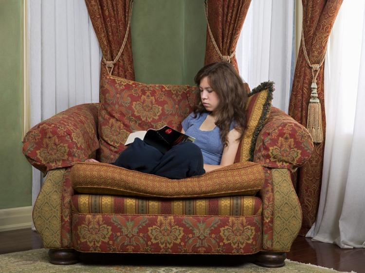reading in chair