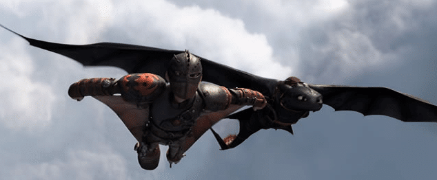 Hiccup and Toothless flying together in the sky from how to train your dragon 2