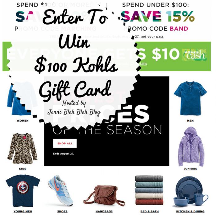 Enter To Win$100 Kohls Gift Card