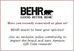 Get $5 Amazon Gift Code For Helping BEHR
