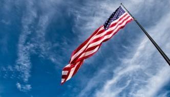 flapping flag of usa