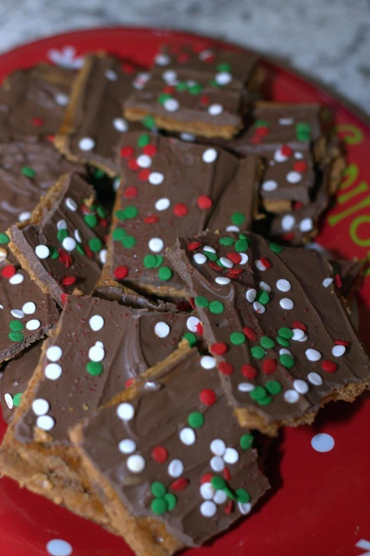 Chocolate, Caramel, Peanut Butter and Graham Cracker Christmas Toffee