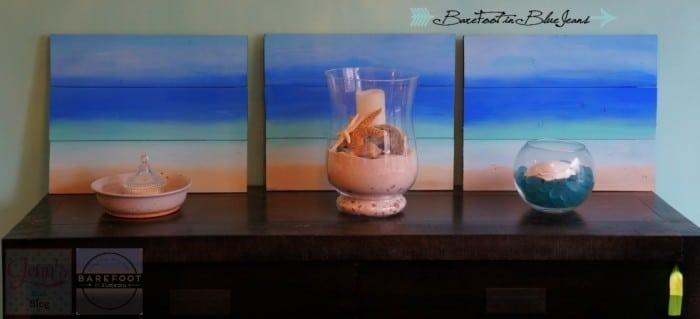 DIY Wooden Ombre Beach Paining