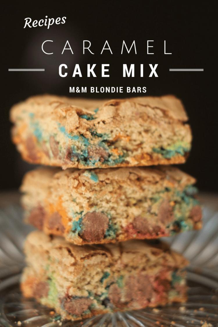 Caramel Cake Mix M&M Blondie Bars