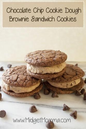 Chocolate Chip Cookie Dough Brownie Sandwich Cookies