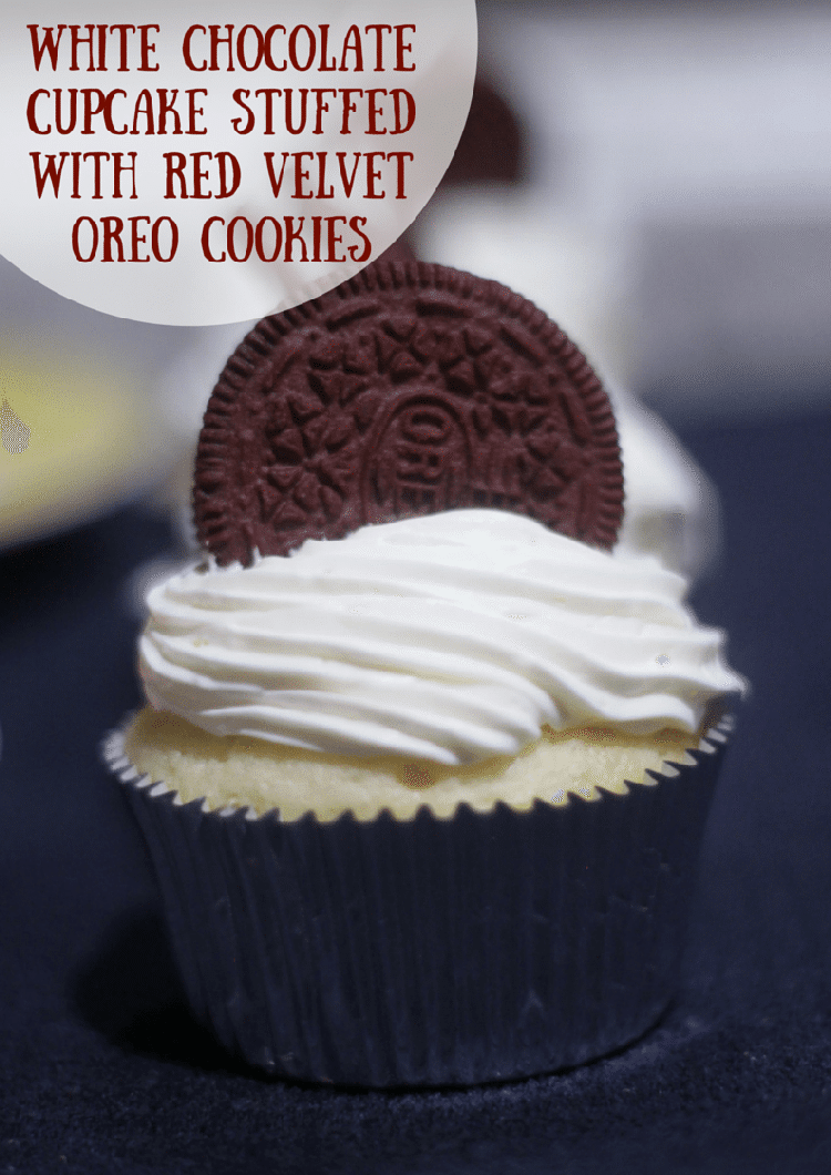 White Chocolate Cupcake Stuffed With Red Velvet OREOs