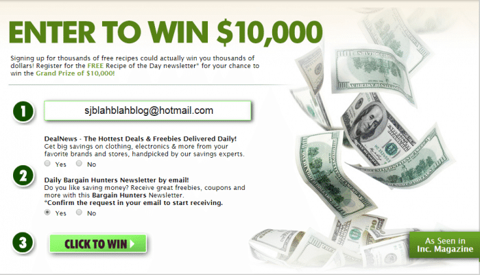 Enter to win sweepstakes money