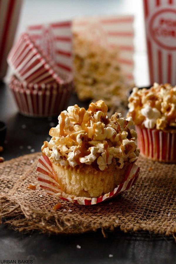Brown Butter Salted Caramel Popcorn Cupcakes