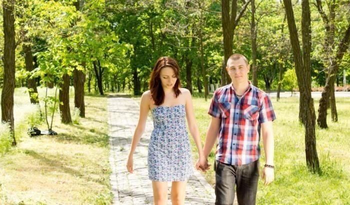 Caress couple walking