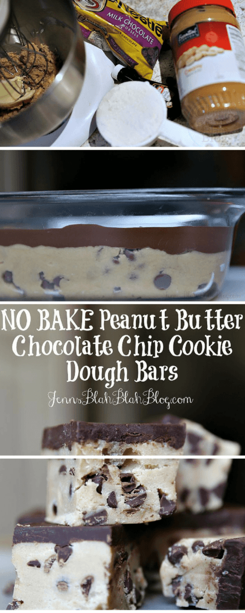 Easy No Bake Peanut Butter Chocolate Cookie Dough Bars