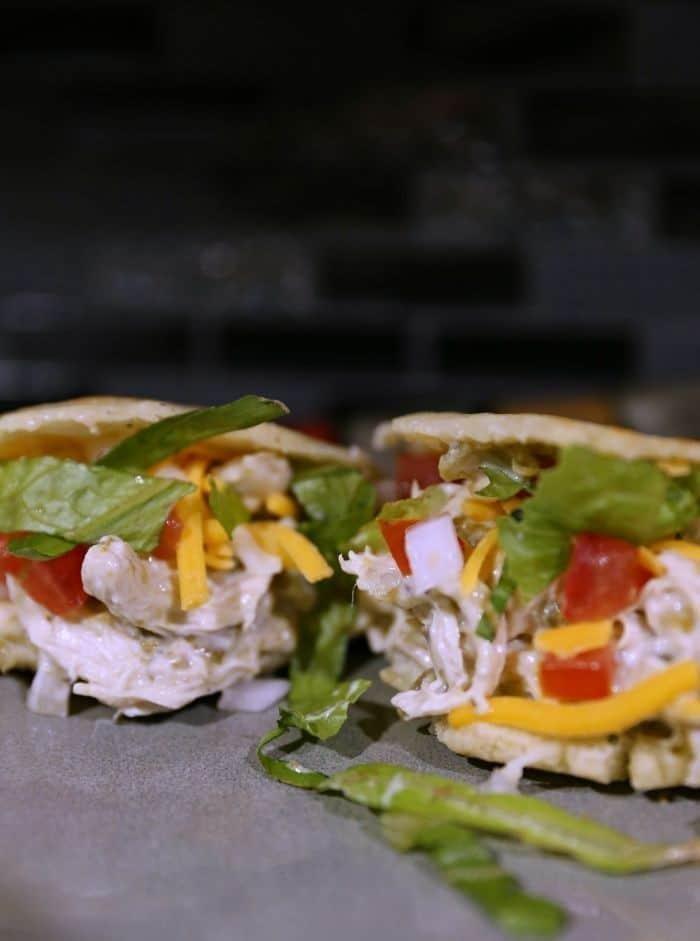 Green Chili Chicken Enchiladas Arepa Sandwich