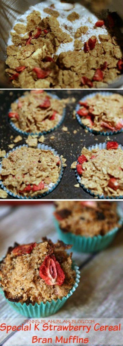 Special K Strawberry Cereal Bran Muffins Recipe| JennsBlahBlahBlog.com