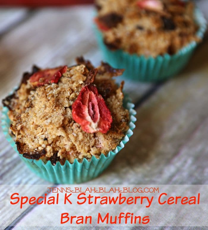 Special K Strawberry Cereal Bran Muffins Breakfast Recipe | www.jennsblahblahblog.com
