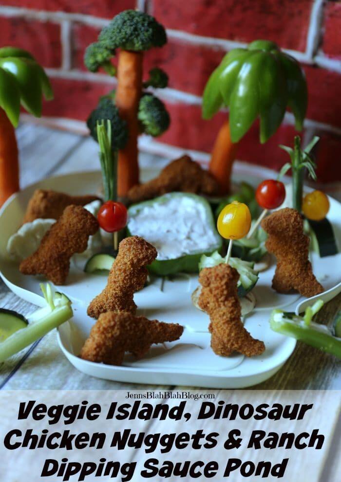 Veggie Island, Dinosaur Chicken Nuggets & Ranch Dipping Sauce Pond veggie fun