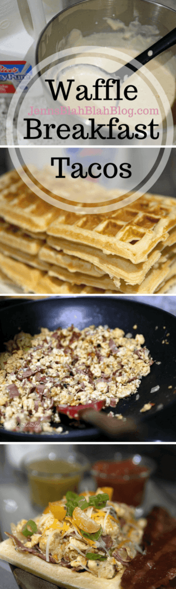 Waffle Breakfast Tacos with Eggs, Turkey Bacon, Cheese, Onions, and more