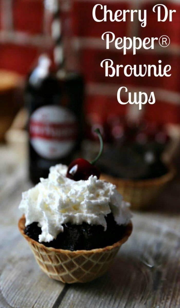 Cherry Dr. Pepper® Brownies in Waffle Cone Cups | www.jennsblahblahblog | @jenblahblahblog