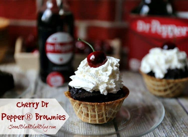 Cherry Dr. Pepper® Brownies in Waffle Cone Cups   www.jennsblahblahblog   @jenblahblahblog