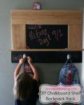 DIY Chalkboard Shelf & Backpack Rack for Kids