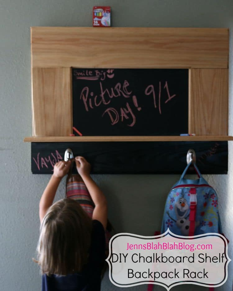 DIY Chalkboard Shelf Backpack Rack for Kids