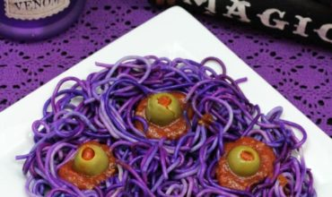 Purple Four Eyed Monster Spaghetti Halloween Recipe