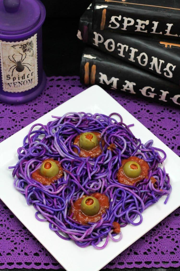 Purple monster pasta HALLOWEEN SPAGHETTI