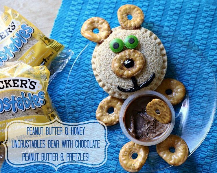 Peanut Butter Honey Uncrustables Bear with Chocolate Peanut Butter Pretzles