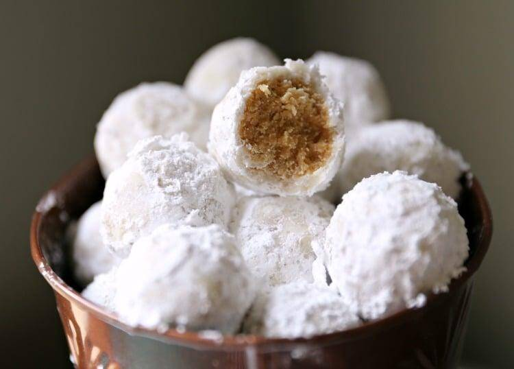 Super Duper Easy Snowballs with Peanut Butter Inside