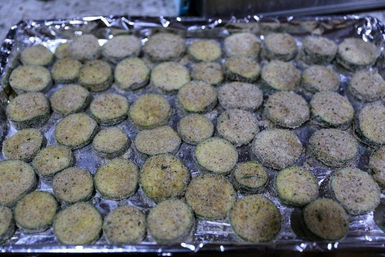 Breaded Zucchini On Foil Covered Cookie Sheet