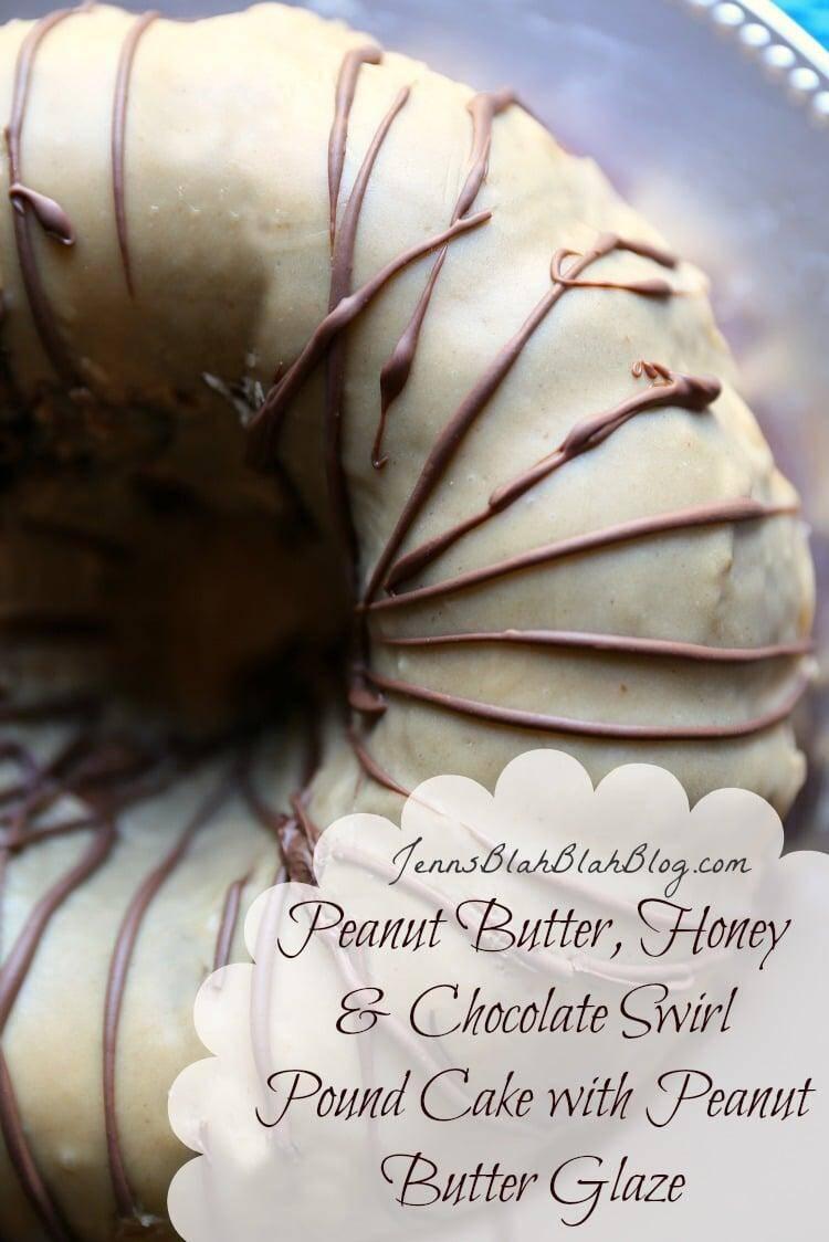 Honey Peanut Butter & Chocolate Pound Cake with Peanut Butter Glaze