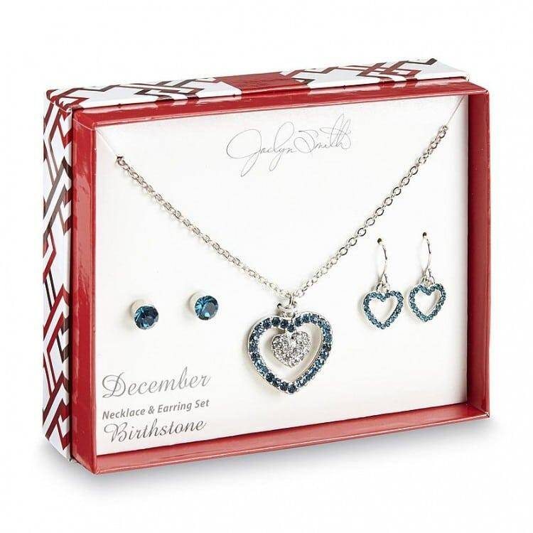Jaclyn Smith Womene's Silvertone Virthstone Necklace & 2 Pairs of Earrings