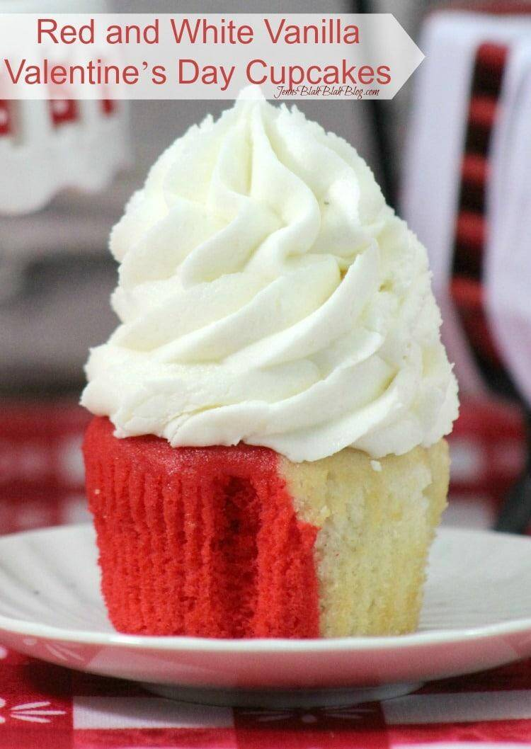 Red and White Vanilla Valentine's Day Cupcakes