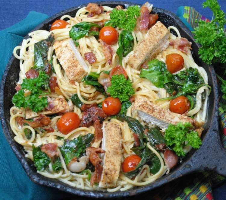 Rustic Chicken & Spinach Alfredo Pasta Recipe