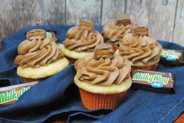 Milky Way Cupcakes with Caramel Frosting