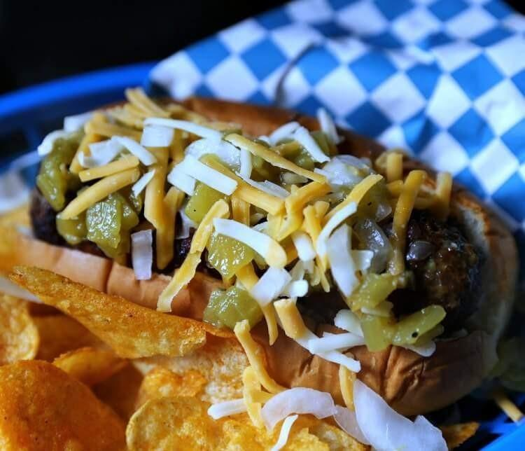 Green Chili & Mushroom Stuffed Bacon-Wrapped Burger Dog