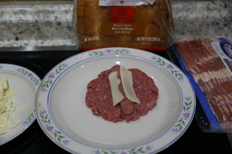 Green Chili & Mushroom Stuffed Bacon-Wrapped Burger Dog