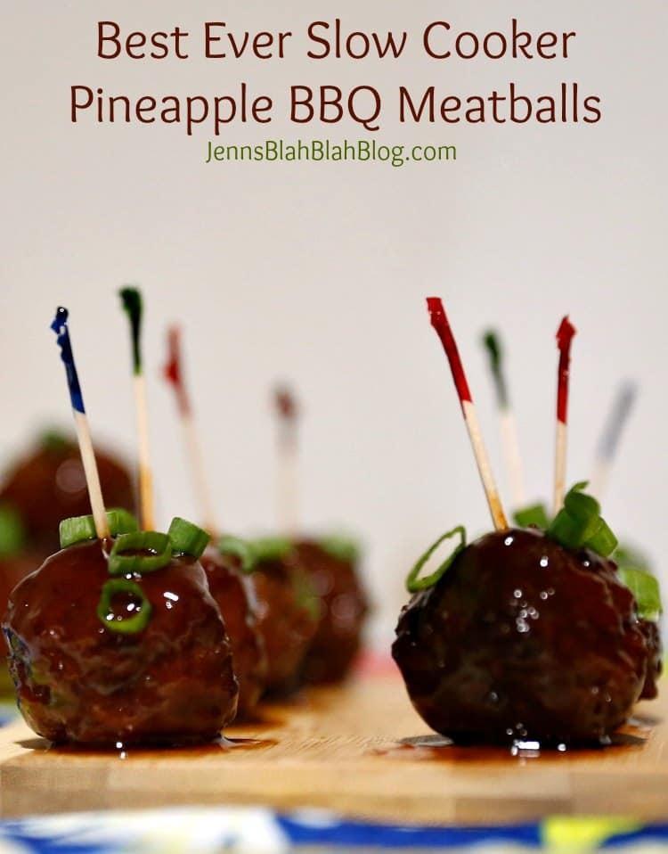 Easy Slow Cooker Pineapple BBQ Meatballs