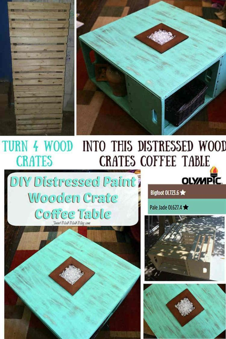DIY Distressed Wood Crate Coffee Table Project