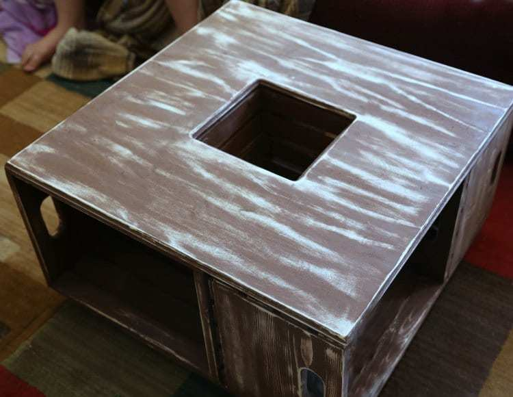 DIY Distressed Wood Crate Coffee Table