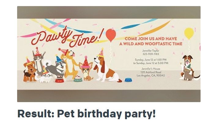 pet party time invitation