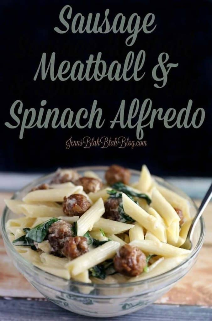 Alfredo with spinach and sausage meatballs
