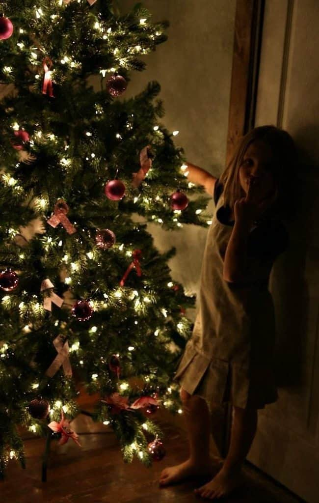 Putting up a pink christmas tree