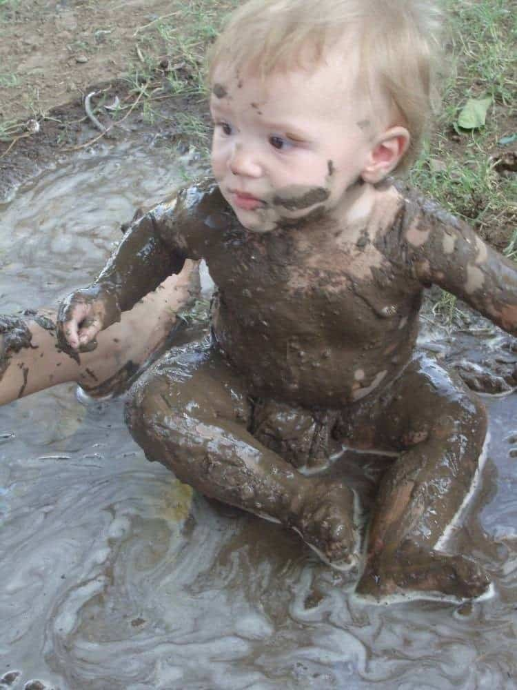 Mattie playing in mud jenn worden