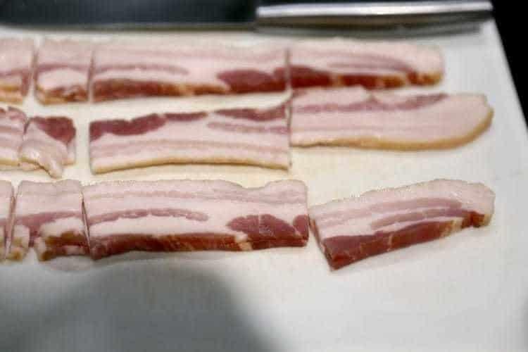 cutting bacon