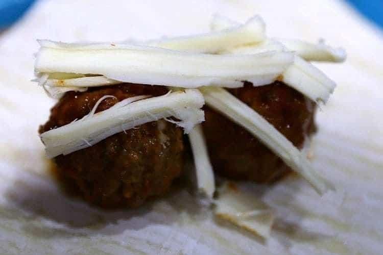 Mozzarella Meatball Egg Roll Wraps