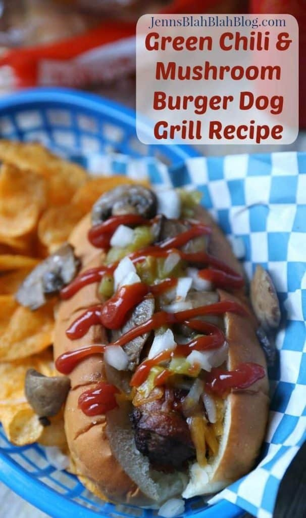 Green Chili Mushroom Burger Dog