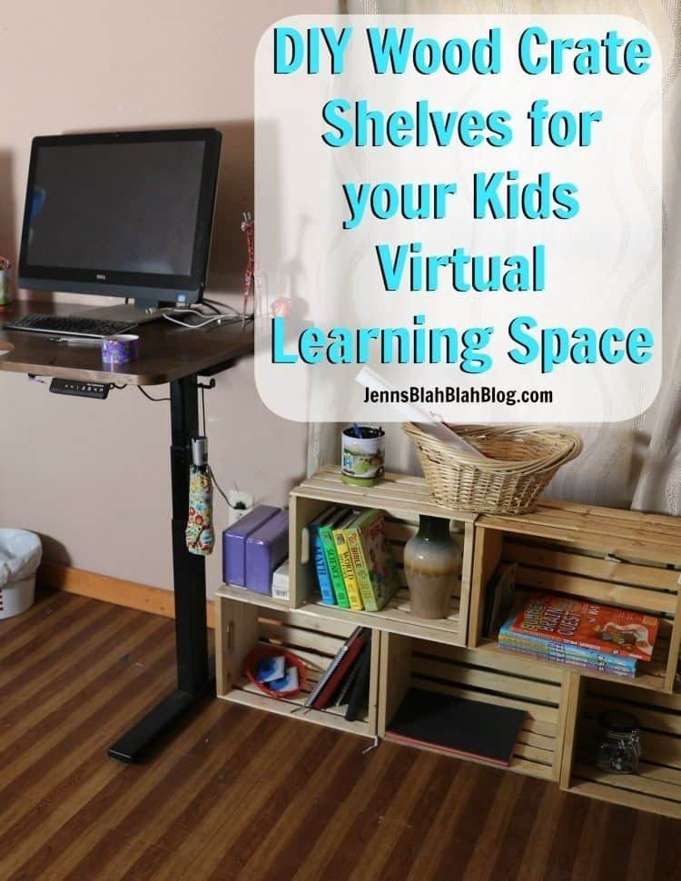 diy wood crate shelves for your kids virtual learning space