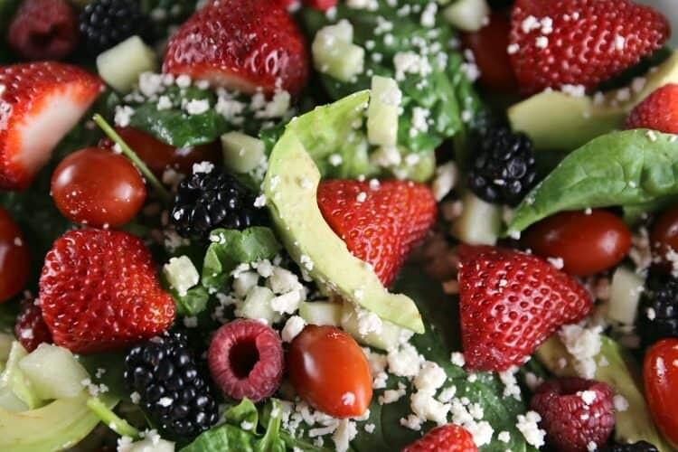 Berry Avocado Spinach Salad with Balsamic Vinaigrette Dressing