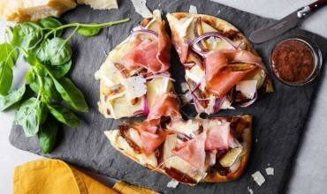 Flatbread Pizza Recipe with Stone Ground Mustard, Fig and Prosciutto
