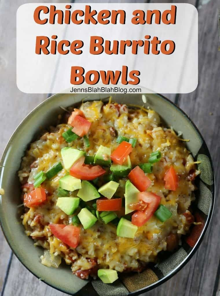 One Pot Chicken and Rice Burrito Bowls
